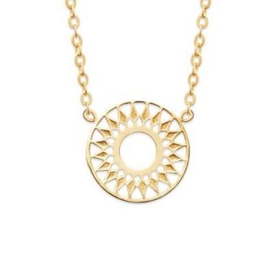 Collier + pendentif solaire femme en plaqué or