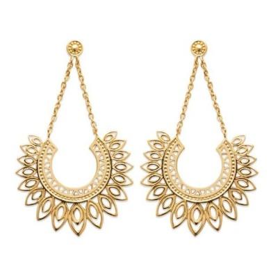 Boucles d'oreilles pendantes orientales en plaqué or, femme - Emy - Lyn&Or Bijoux
