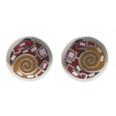 Boucles d'oreilles nacre, émail et acier pour femme - Sunshine - Lyn&Or Bijoux