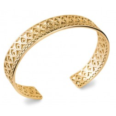Bracelet jonc rigide ouvert pour femme en plaqué or, motif oriental
