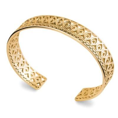Bracelet jonc rigide, motif oriental en plaqué or pour femme - Emy - Lyn&Or Bijoux
