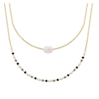 Collier femme, plaqué or, perles de Miyuki & Pierre de Lune - Luny - Lyn&Or Bijoux