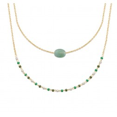 Collier pour femme, plaqué or, perles de Miyuki & Aventurine verte
