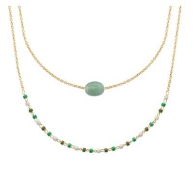 Collier femme, plaqué or, perles de Miyuki & Aventurine verte - Luny - Lyn&Or Bijoux