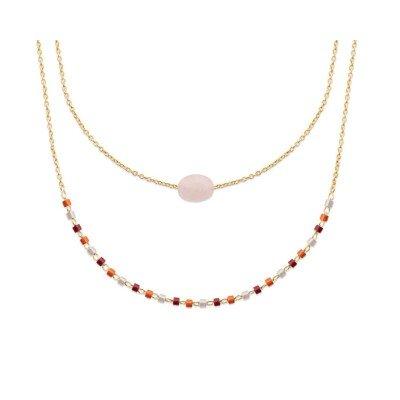 Collier femme, plaqué or, perles de Miyuki & Quartz Rose - Luny - Lyn&Or Bijoux