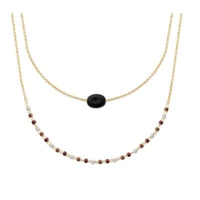 Collier pour femme, plaqué or, perles de Miyuki & Agate noire