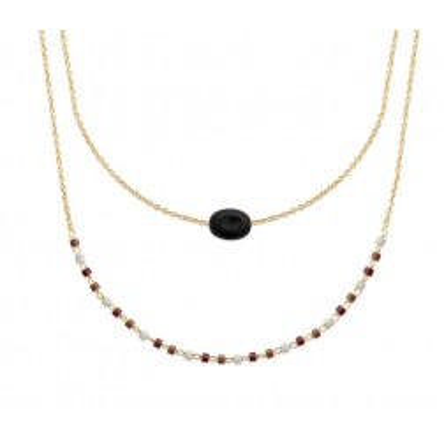 Collier femme, plaqué or, perles de Miyuki & Agate noire - Luny - Lyn&Or Bijoux