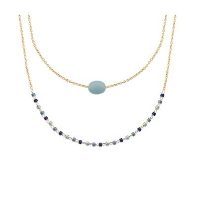 Collier pour femme, plaqué or, perles de Miyuki & Amazonite bleue