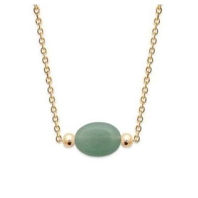 Collier femme en plaqué or & Aventurine verte ovale - Damas - Lyn&Or Bijoux