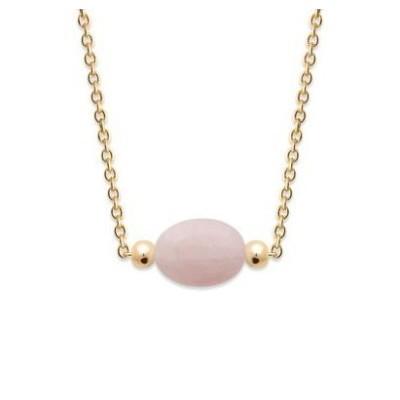 Collier pour femme en plaqué or & Quartz Rose ovale