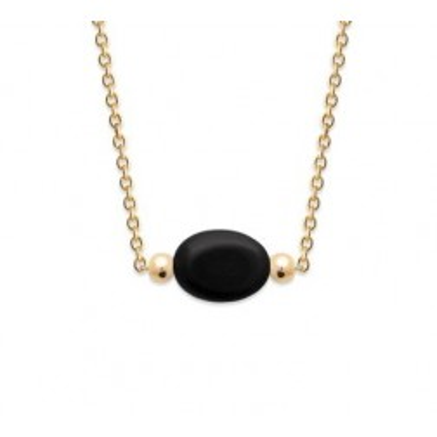 Collier femme en plaqué or & Agate noire ovale - Damas - Lyn&Or Bijoux