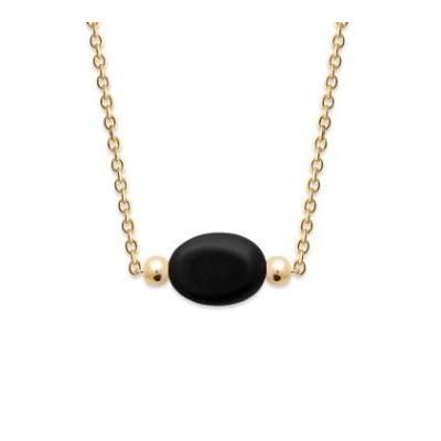 Collier pour femme en plaqué or & Agate noire ovale