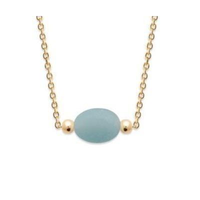 Collier femme en plaqué or & Amazonite bleue ovale - Damas - Lyn&Or Bijoux