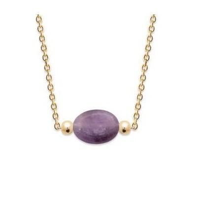 Collier femme en plaqué or & Améthyste violette ovale - Damas - Lyn&Or Bijoux