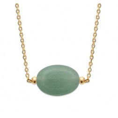 Collier femme en plaqué or & grande Aventurine verte - Silla - Lyn&Or Bijoux