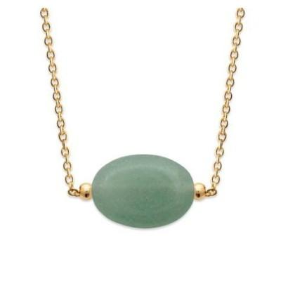 Collier pour femme en plaqué or & grande Aventurine verte