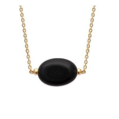 Collier femme en plaqué or & grande Agate noire - Silla - Lyn&Or Bijoux