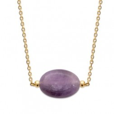 Collier femme en plaqué or & grande Améthyste violette - Silla - Lyn&Or Bijoux
