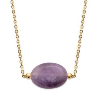 Collier pour femme en plaqué or & grande Améthyste violette