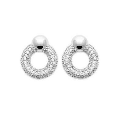 Boucles d'oreilles rondes en argent rhodié & Zircon, femme - Septa - Lyn&Or Bijoux