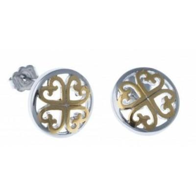 Boucles d'oreille femme, coeurs en acier bicolore - Stella - Lyn&Or Bijoux