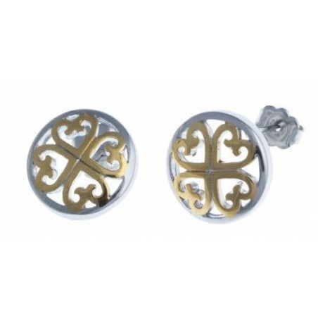 Boucles d'oreilles coeur en acier deux tons - Stella