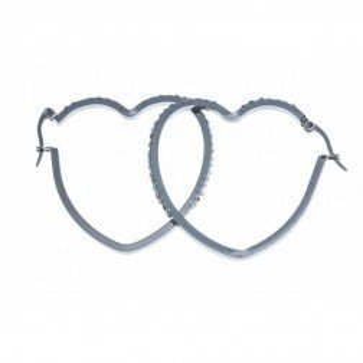 Créoles coeur pour femme, acier et zircon - Symbiose - Lyn&Or Bijoux