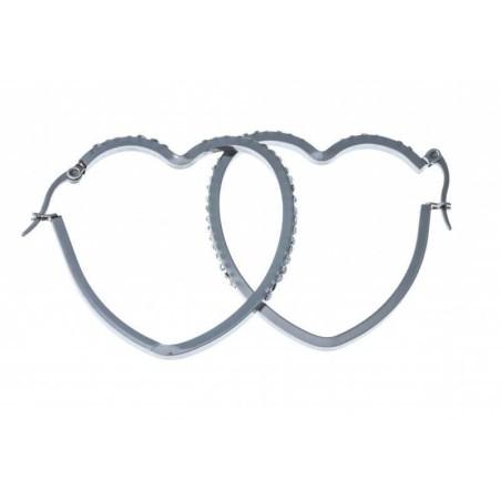 Boucles créoles coeur en acier et strass - Symbiose