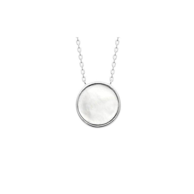 Collier pour femme en argent rhodié & médaillon en nacre - Neige - Lyn&Or Bijoux