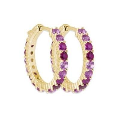 Boucles d'oreilles créoles en plaqué or & Zircon rose - Qwana - Lyn&Or Bijoux