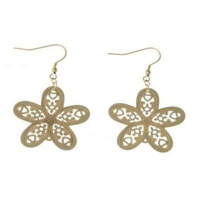 Boucles d'oreilles fleurs en acier doré pour femme - Myra - Lyn&Or Bijoux