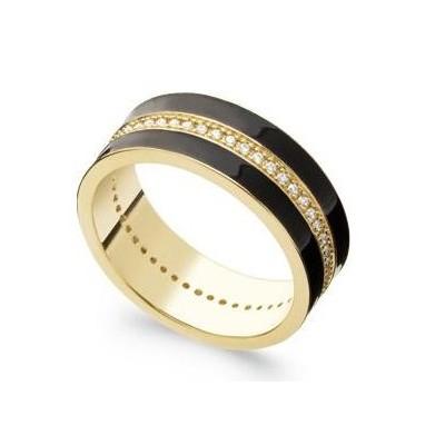 Bague en plaqué or, émail noir & Zircon pour femme