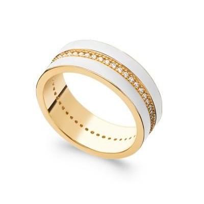 Bague en plaqué or, émail blanc & Zircon pour femme