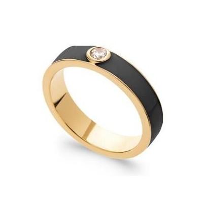 Bague pour femme en plaqué or, émail noir & Zircon - Fusion - Lyn&Or Bijoux