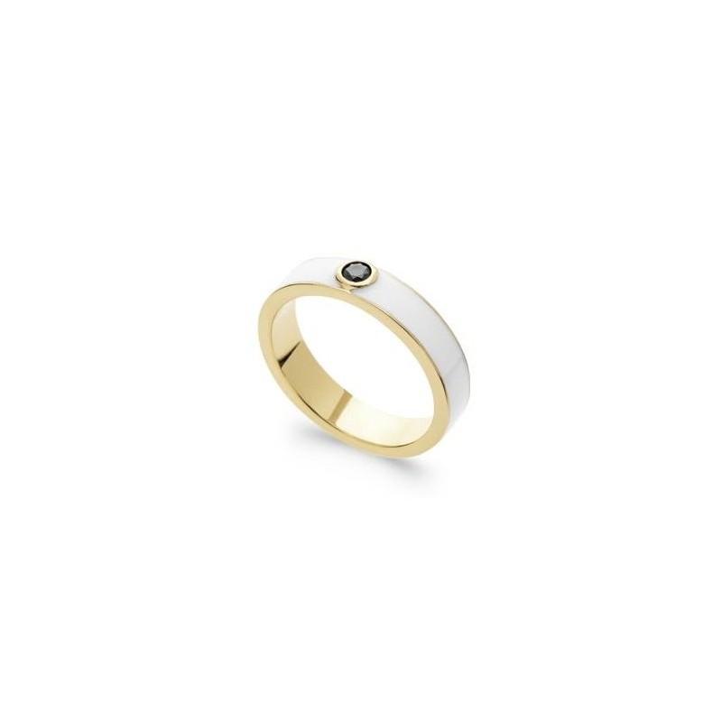 Bague pour femme en plaqué or, émail blanc & Zircon noir - intense - Lyn&Or Bijoux