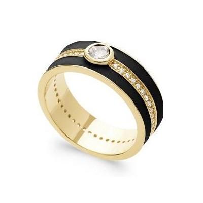 Grosse Bague pour femme en plaqué or, émail noir & Zircon