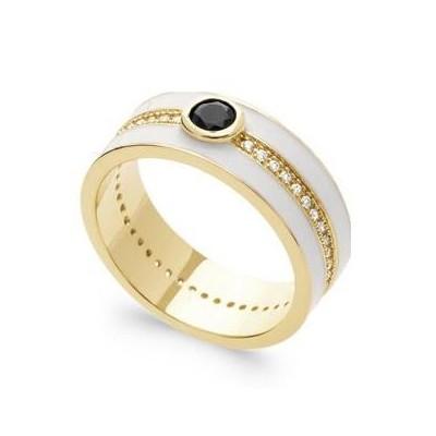 Bague femme en plaqué or, émail blanc & Zircon noir - Harmonie - Lyn&Or Bijoux