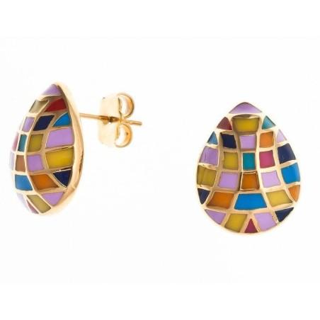 Boucles d'oreilles acier et émail multicolore - Utta