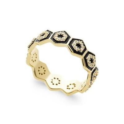 Bague pour femme en plaqué or, zircon & émail noir - Paloma - Lyn&Or Bijoux