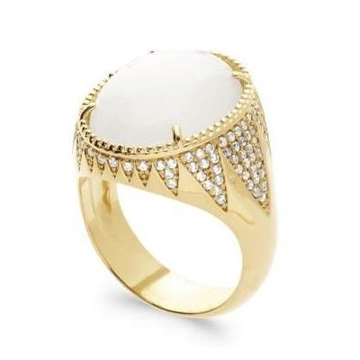 Bague pour femme en plaqué or, Pierre de Lune & Zircon - Pureté - Lyn&Or Bijoux