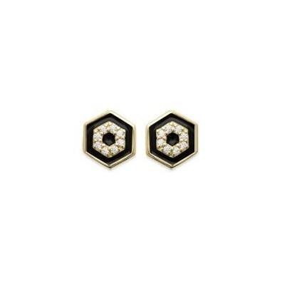 Boucles d'oreilles pour femme, en plaqué or & émail noir