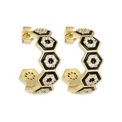 Boucles d'oreilles créoles en plaqué or & émail noir, femme - Paloma - Lyn&Or Bijoux