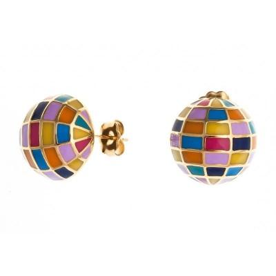 Boucles d'oreilles boule en acier doré coloré pour femme - Yja - Lyn&Or Bijoux