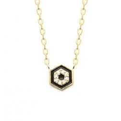 Collier pour femme en plaqué or + pendentif en émail noir & Zircon
