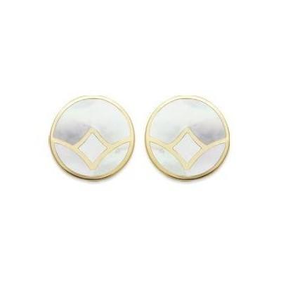 Boucles d'oreilles rondes en argent rhodié & nacre grise abalone, pour femme