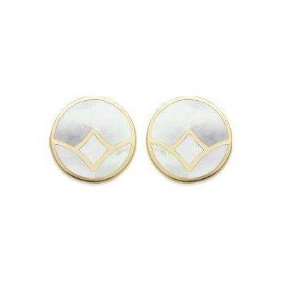 Boucles d'oreilles rondes en plaqué or & Nacre abalone, femme - Rya - Lyn&Or Bijoux