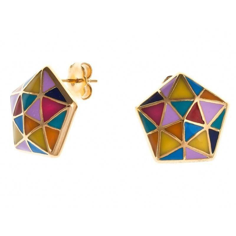 Boucles d'oreille femme en acier doré & émail multicolore - Epsilon - Lyn&Or Bijoux