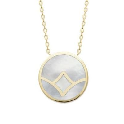 Collier en plaqué or & pendentif en nacre abalone, femme - Rya - Lyn&Or Bijoux