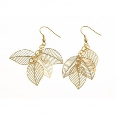 Boucles d'oreilles en acier doré - Plume