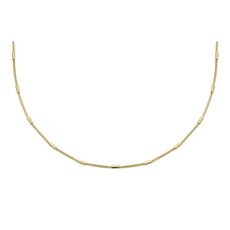Collier pour femme, fine chaine originale en plaqué or avec tubes dorées